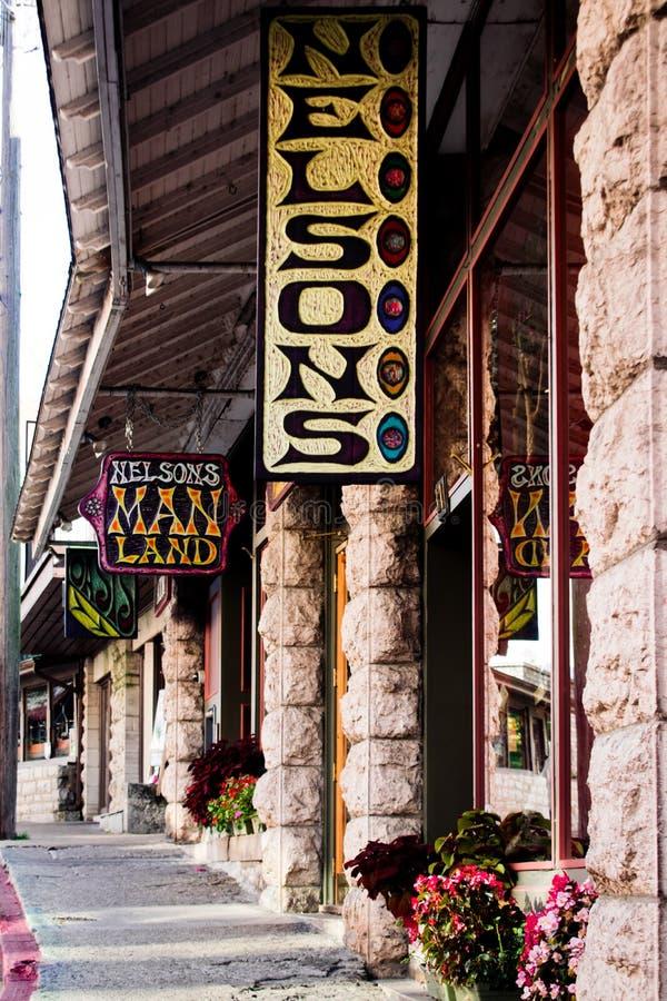 Nelsons manland som är i stadens centrum i historiska Eureka Springs, Arkansas royaltyfria foton