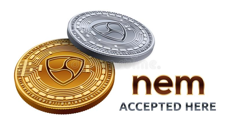 NEM. Accepted sign emblem. Crypto currency. Golden and silver coins with NEM symbol isolated on white background. 3D isometric Phy royalty free illustration