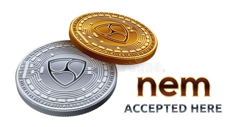Nem Akceptujący szyldowy emblemat Crypto waluta Złote i srebne monety z symbolem odizolowywającym na białym tle nem 3D isometric  ilustracji