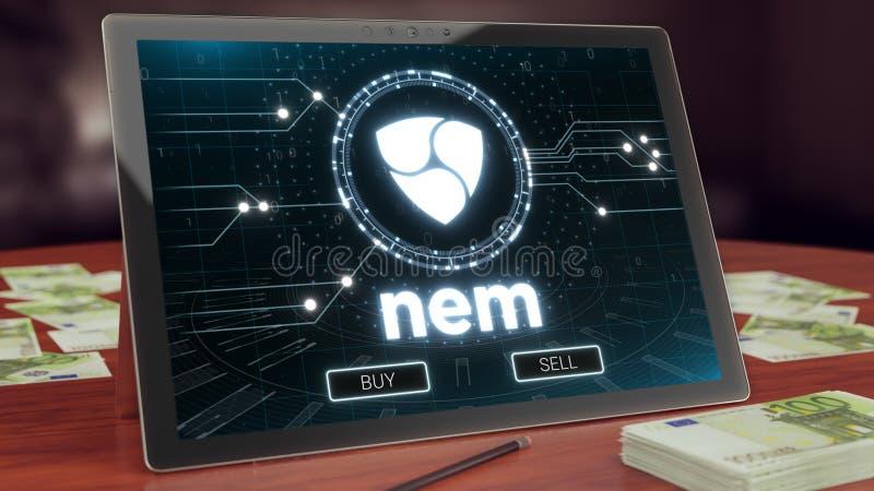 Nem cryptocurrencylogo på PCminnestavlaskärmen illustration 3d arkivfoton