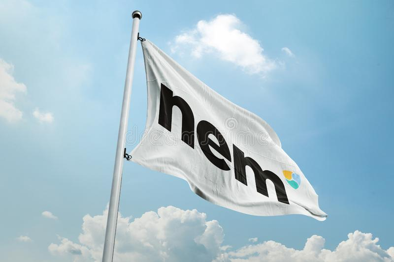 NEM Crypto network exchange. NEM is a peer-to-peer cryptocurrency and blockchain platform launched on March 31, 2015. Written in Java, with a C++ version in the royalty free stock photo