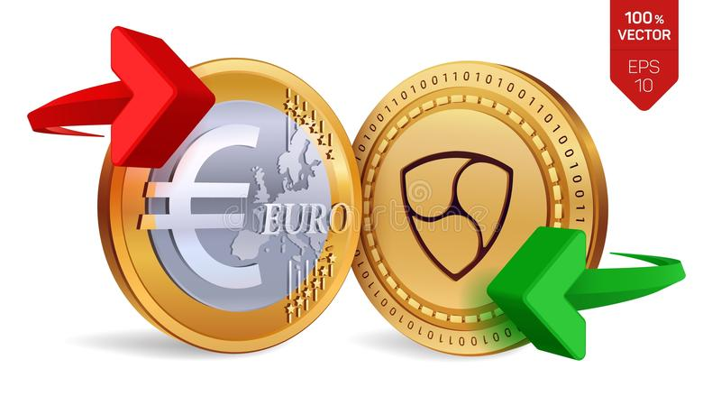 Nem to Euro currency exchange. Nem. Euro coin. Cryptocurrency. Golden coins with Nem and Euro symbol with green and red arrows. 3D. Isometric Physical coins stock illustration