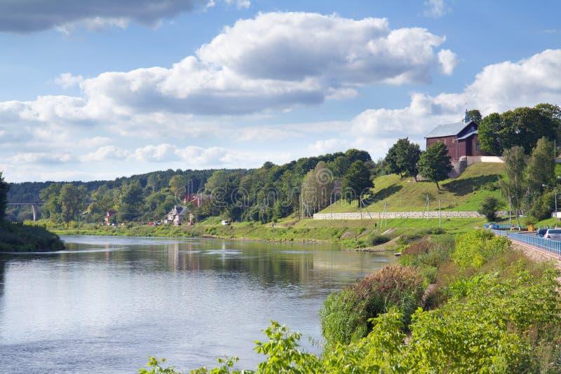 Neman flod, Grodno, Vitryssland royaltyfria bilder