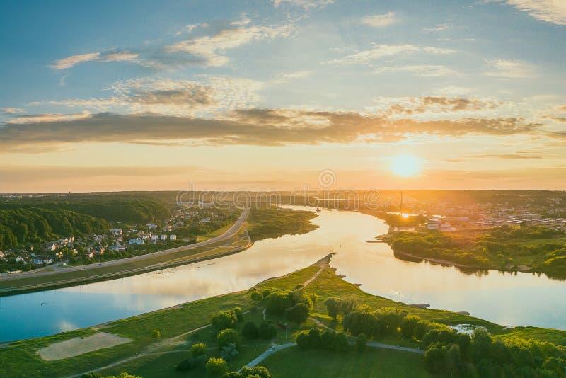 Neman and Neris confluence, Kaunas, Lithuania. Neman and Neris confluence. The confluence of the rivers Nemunas and Neris is at the westernmost tip of Santakos stock photo
