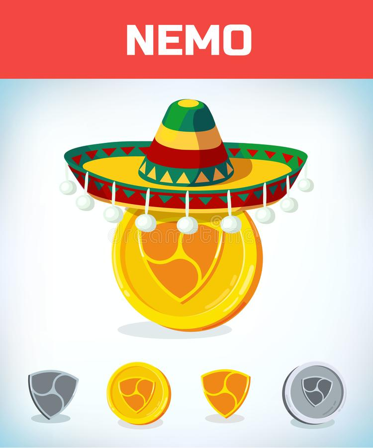 Nemo in mexican hat. nemo. Digital currency. Crypto currency. Money and finance symbol. Miner bit coin criptocurrency. Virtual money concept. Cartoon Vector royalty free illustration