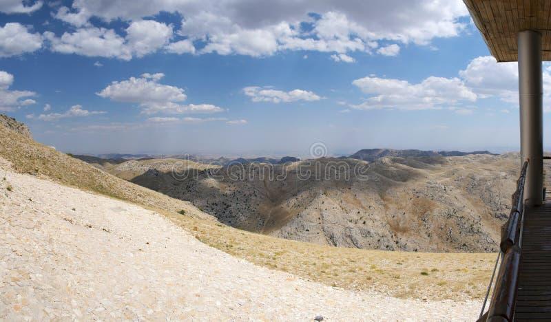 Nemrut Dagi, Mount Nemrut, Kahta, Turkey, Middle East, terrace, landscape, sanctuary, tomb, King Antiochus I of Commagene. Kahta, Turkey, Middle East: landscape stock image