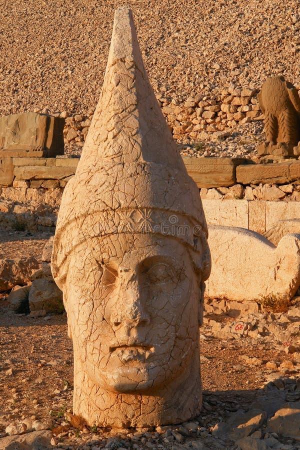 Nemrut - Turkey - Heads of statues on Mount Nemrut. Heads of the colossal statues on Mount Nemrut in Turkey stock photos