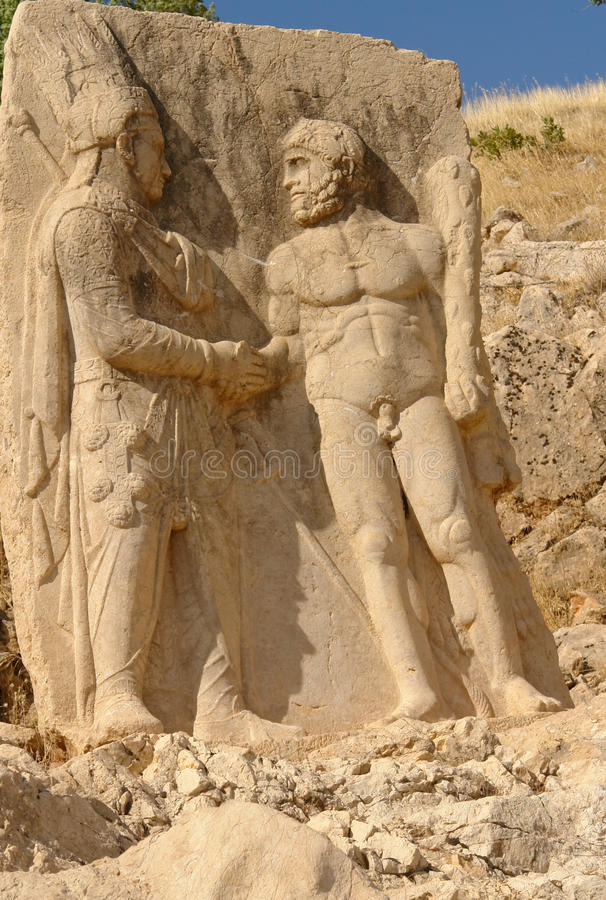 Nemrut - Turkey - Statues on Mount Nemrut. Heads of the colossal statues on Mount Nemrut in Turkey stock photos