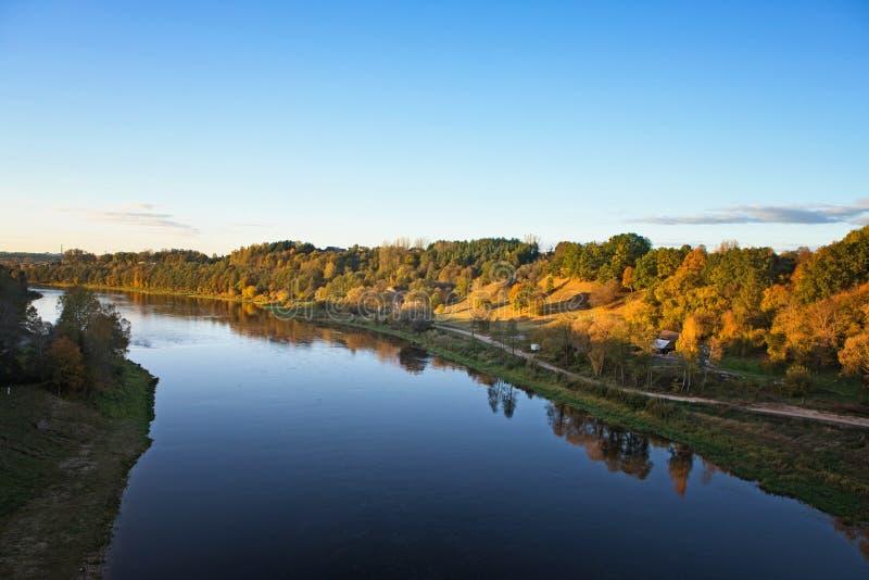 Nemunas,最大的河在立陶宛,在阿利图斯附近 免版税库存照片