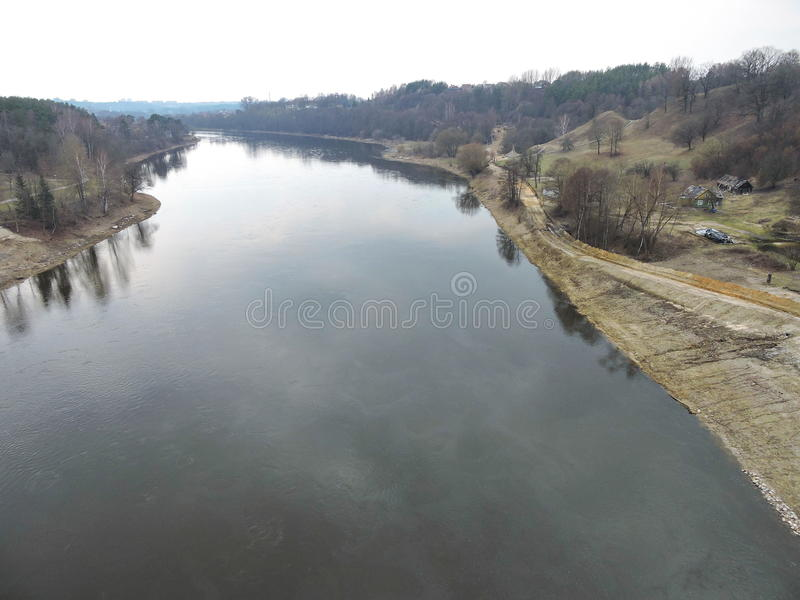 Nemunas river, Lithuania. Nemunas river in spring near Alytus town, Lithuania stock photo