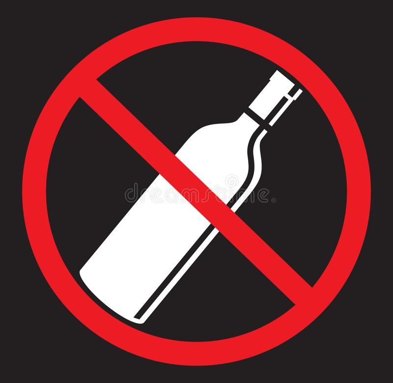 Nenhum álcool que bebe o ícone liso ilustração do vetor