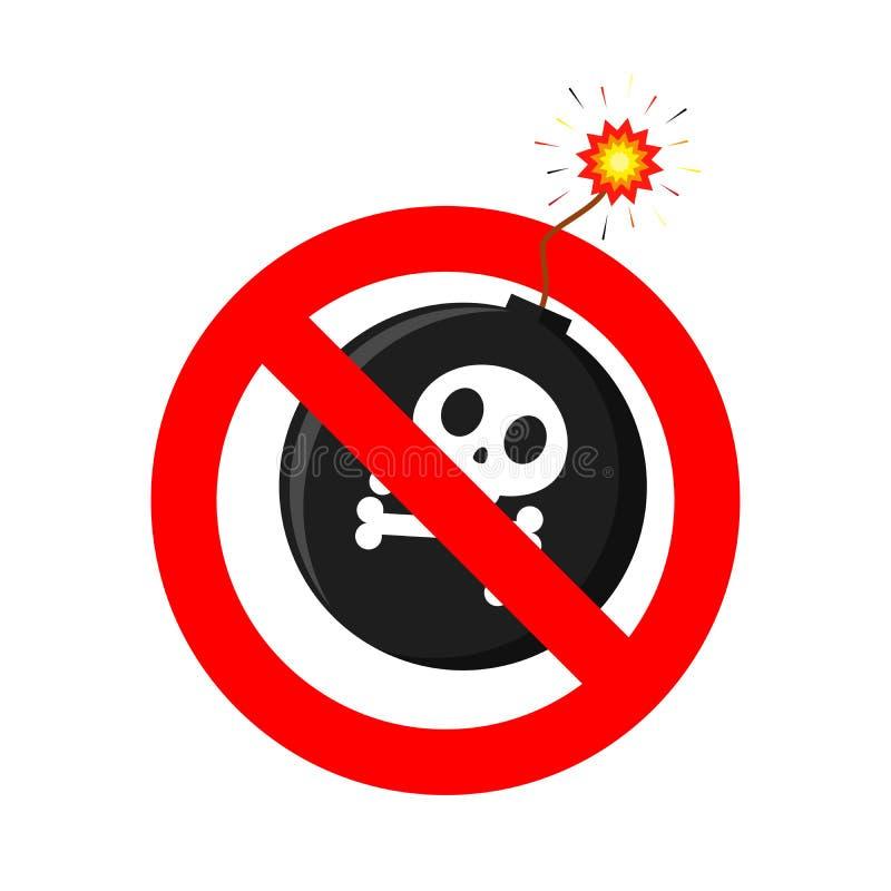 Nenhum ícone da bomba Nenhum sinal da guerra Ilustração do vetor ilustração stock