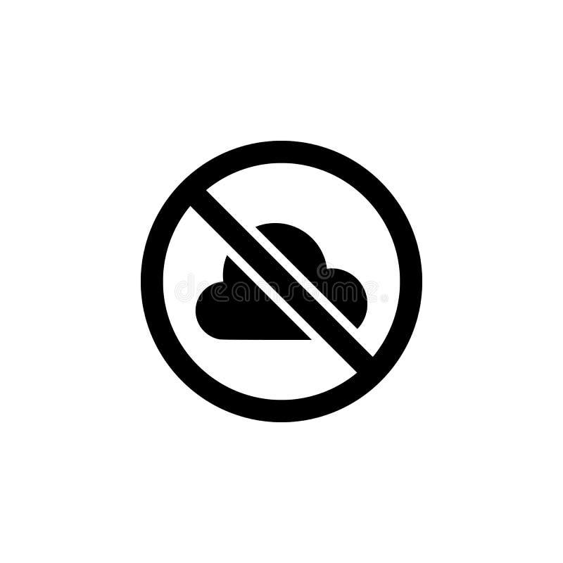 Nenhum ícone da proibição da nuvem Elemento da ilustração do tempo Os sinais e os símbolos podem ser usados para a Web, logotipo, ilustração royalty free