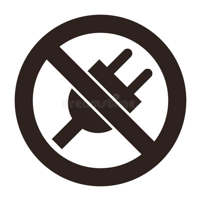 Nenhum ícone de plug ilustração royalty free