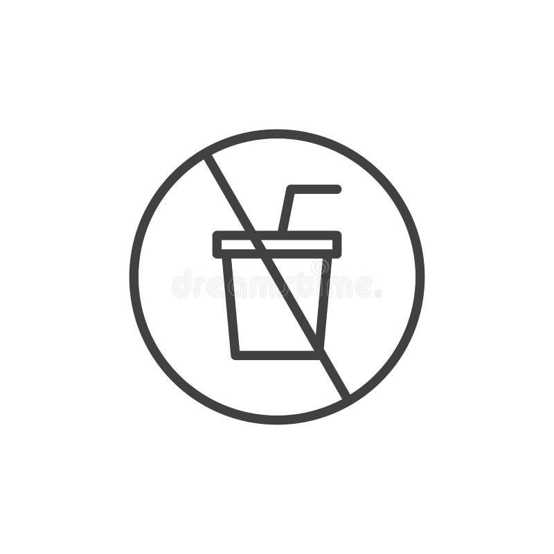 Nenhum ícone do esboço das bebidas ilustração do vetor