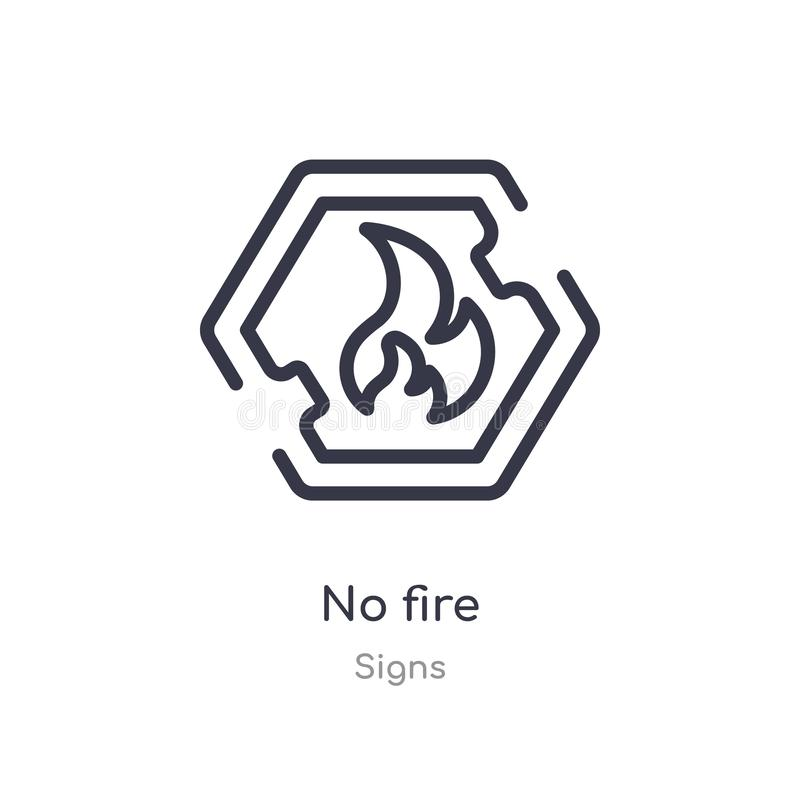 nenhum ícone do esboço do fogo linha isolada ilustra??o do vetor da cole??o dos sinais curso fino editável nenhum ícone do fogo n ilustração do vetor