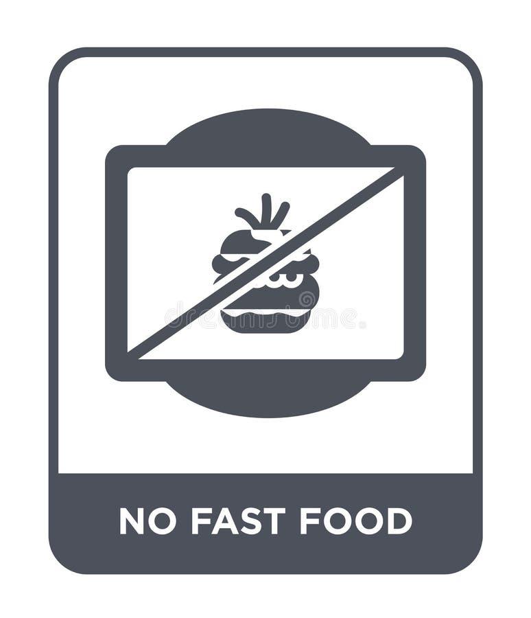 nenhum ícone do fast food no estilo na moda do projeto nenhum ícone do fast food isolado no fundo branco nenhum ícone do vetor do ilustração stock