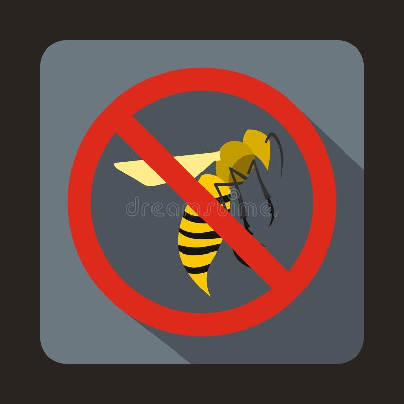 Nenhum ícone do sinal da vespa, estilo liso ilustração do vetor