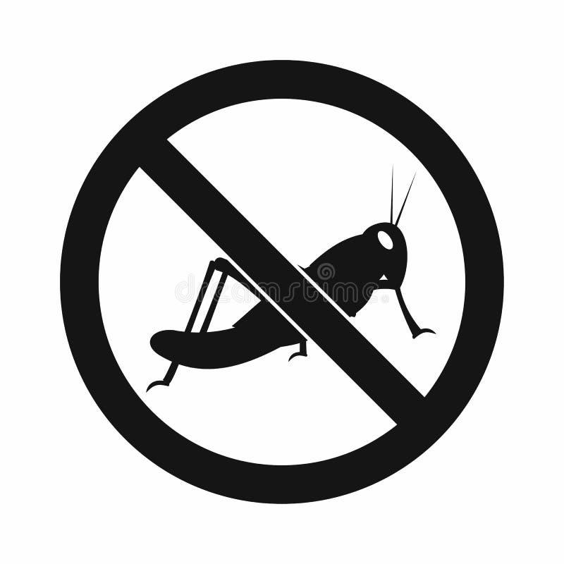 Nenhum ícone do sinal dos locustídeo, estilo simples ilustração stock