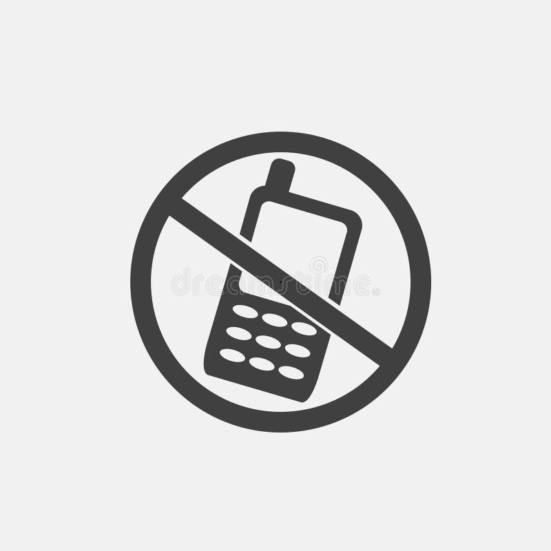 Nenhum ícone do telefone ilustração do vetor