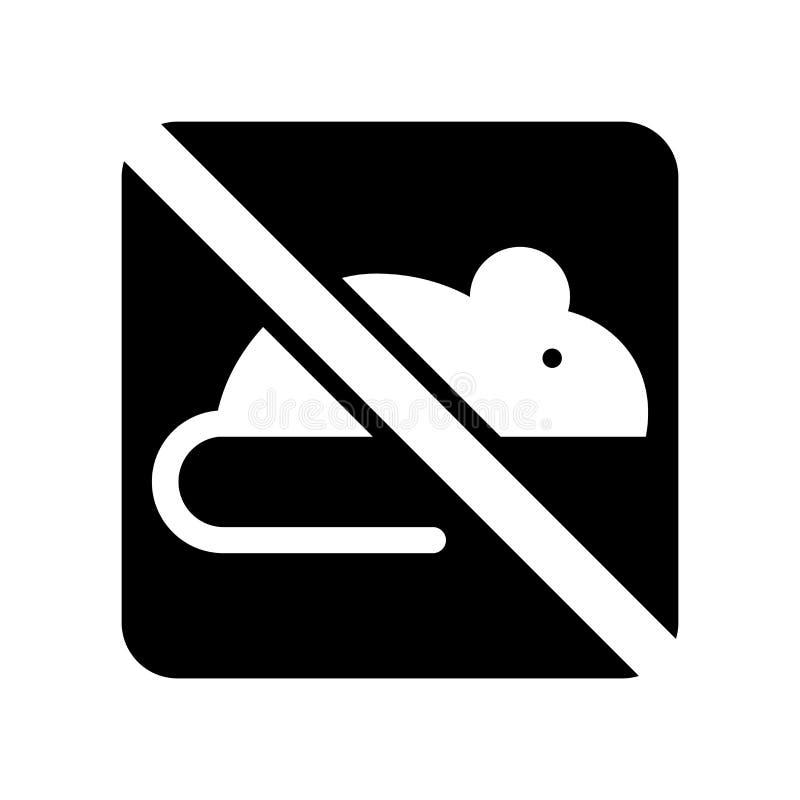Nenhum ícone dos roedores isolado no fundo branco, nenhuns roedores assina ilustração royalty free