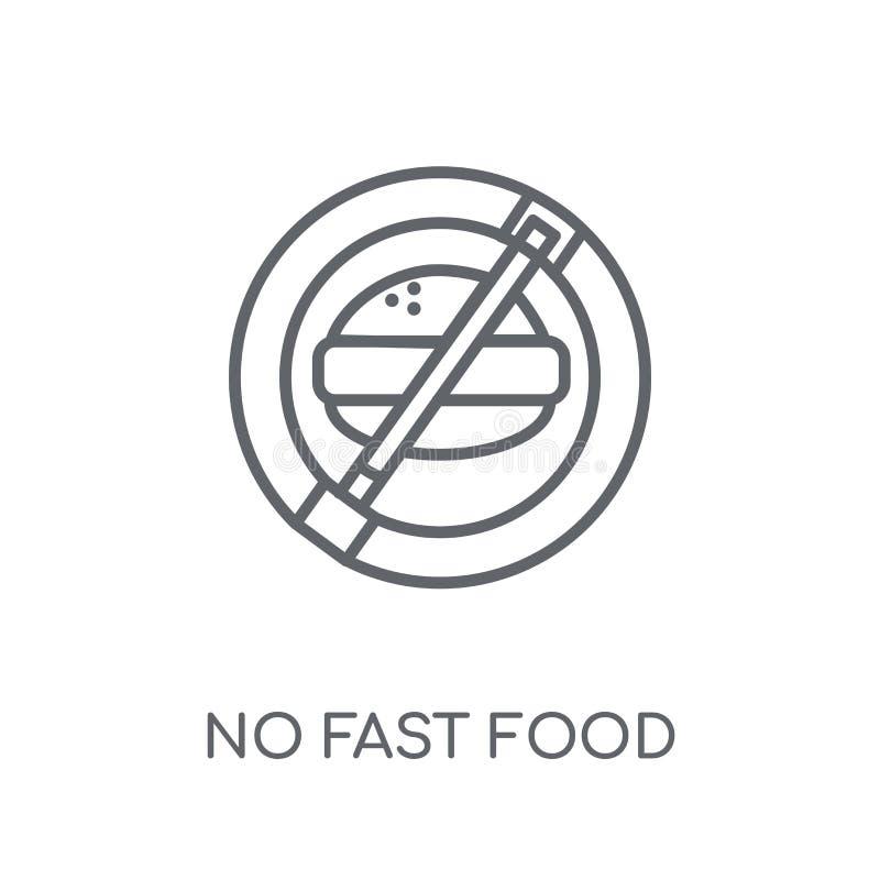 Nenhum ícone linear do fast food Esboço moderno nenhum conce do logotipo do fast food ilustração do vetor