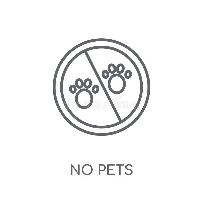Nenhum ícone linear dos animais de estimação Esboço moderno nenhum conceito do logotipo dos animais de estimação no whit ilustração stock