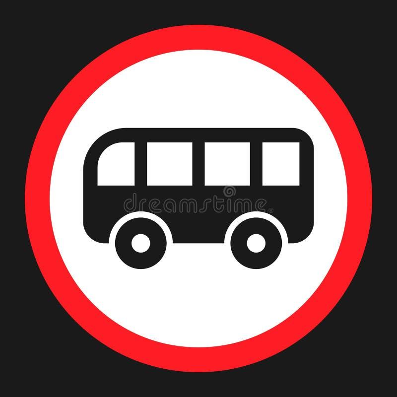 Nenhum ícone liso do sinal da proibição do ônibus ilustração do vetor