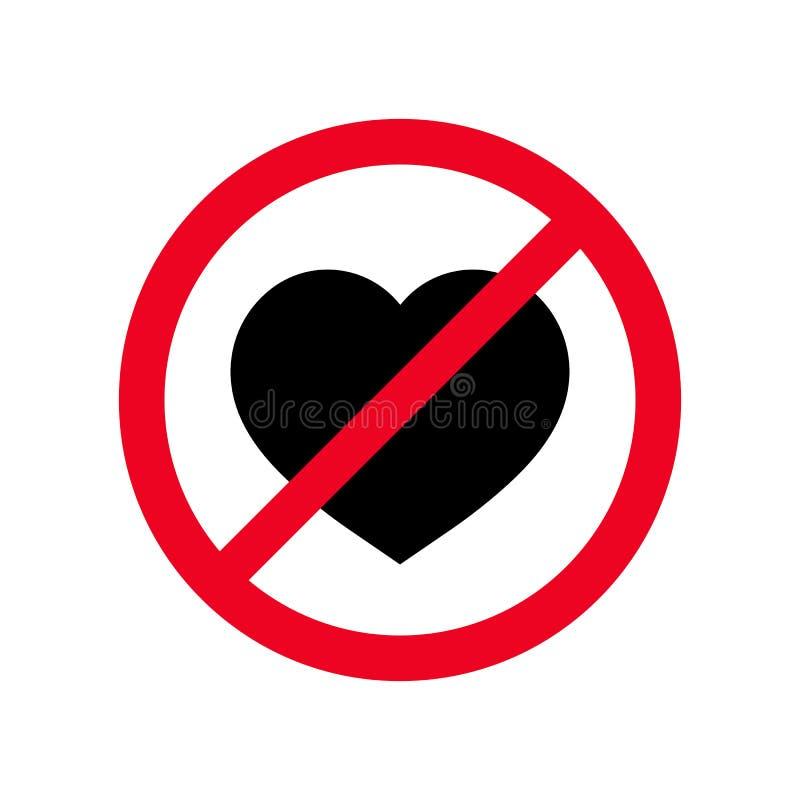 Nenhum ícone liso do vetor do símbolo do coração Conceito proibido dos sentimentos do amor do sinal isolado no fundo branco Ilust ilustração royalty free