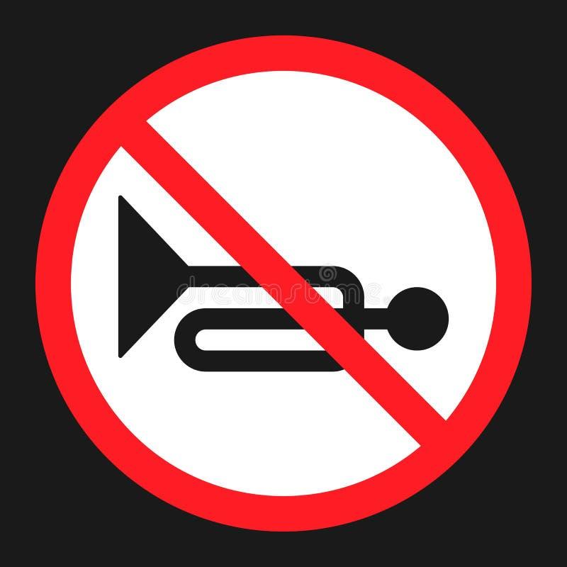 Nenhum ícone liso proibido chifre do sinal ilustração royalty free