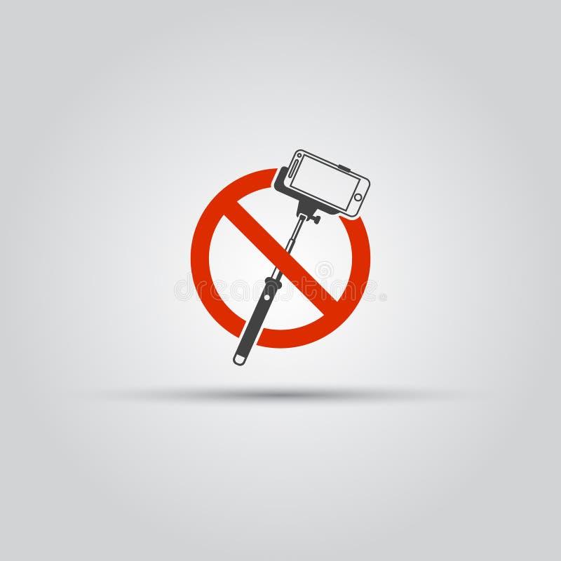 Nenhum ícone ou sinal do vetor das varas do selfie ilustração stock
