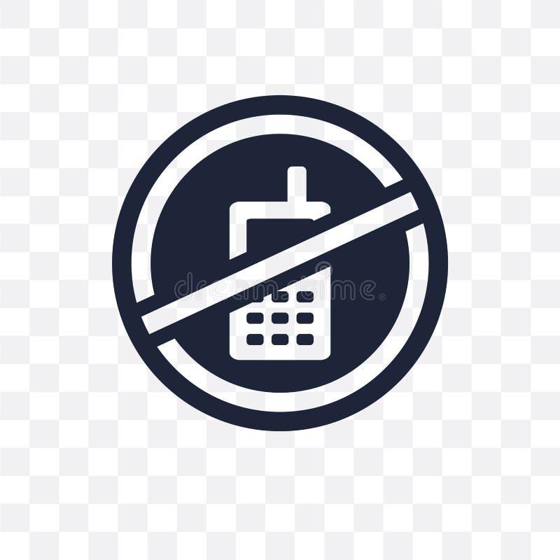 Nenhum ícone transparente do sinal do telefone celular Nenhum symb do sinal do telefone celular ilustração stock