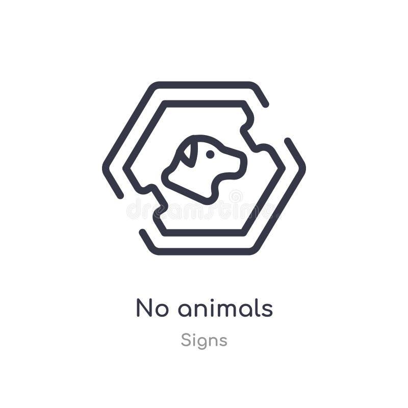 nenhum animal esboça o ícone linha isolada ilustra??o do vetor da cole??o dos sinais curso fino editável nenhum ícone dos animais ilustração stock