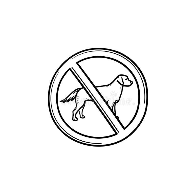 Nenhum cão permitiu o ícone tirado mão da garatuja do esboço do sinal ilustração do vetor