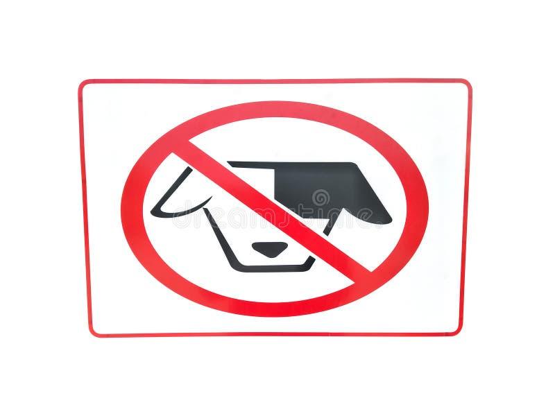 Nenhum cão permitiu o sinal isolado no fundo branco fotos de stock royalty free