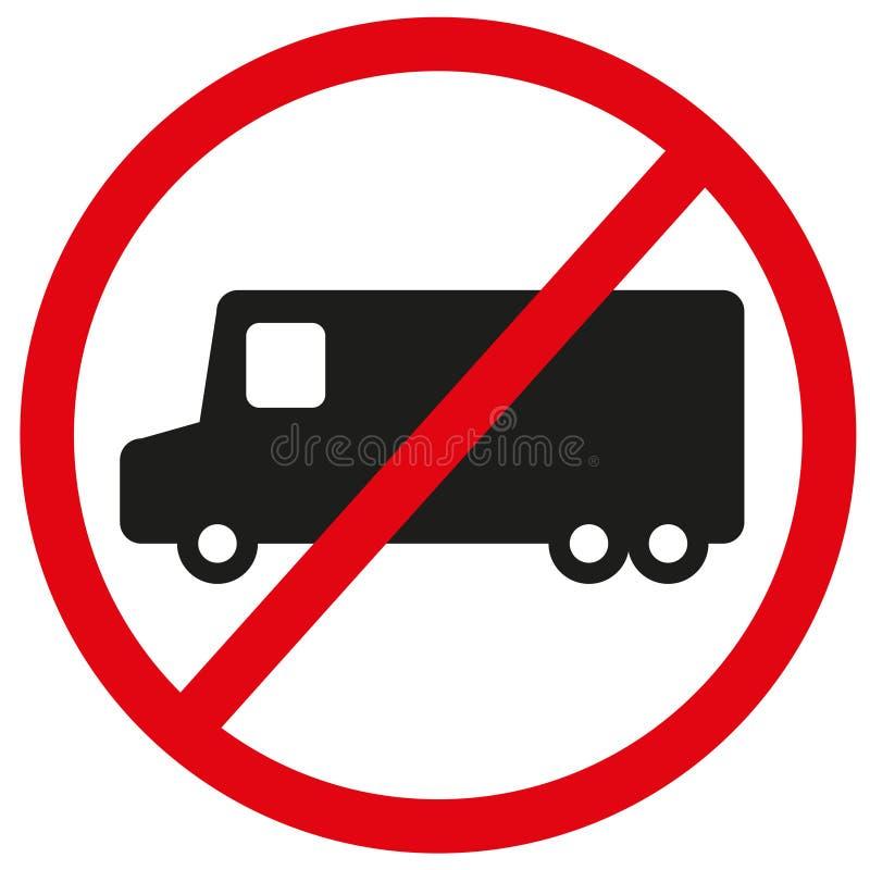 Nenhum caminhão permitiu o sinal, símbolo útil impedir o acesso da carga pesada, para aumentar igualmente a segurança quando ocas ilustração do vetor