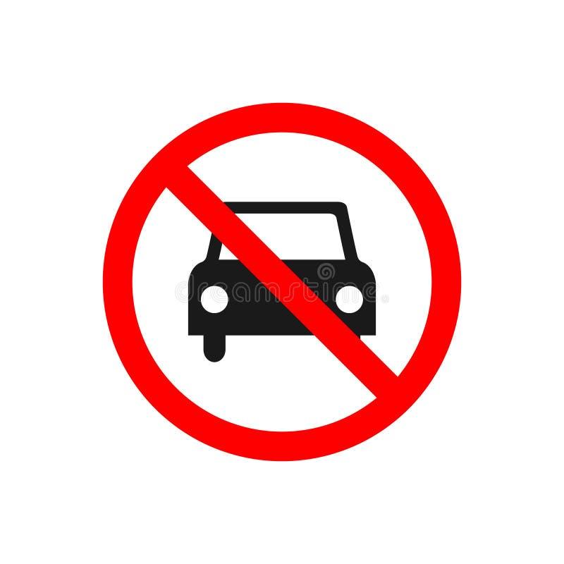 Nenhum carro permitiu o sinal do ?cone do vetor da proibi??o n?o conduz o s?mbolo, nenhuma entrada dos carros isolada no fundo br ilustração do vetor