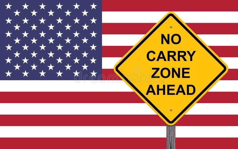 Nenhum Carry Zone Ahead - sinal do cuidado ilustração do vetor