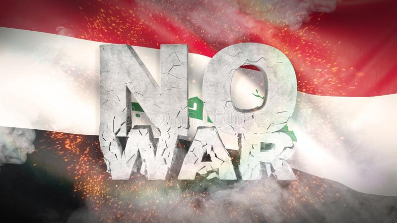 Nenhum conceito da guerra Bandeira de Iraque Textura altamente detalhada acenada da tela ilustração 3D ilustração do vetor
