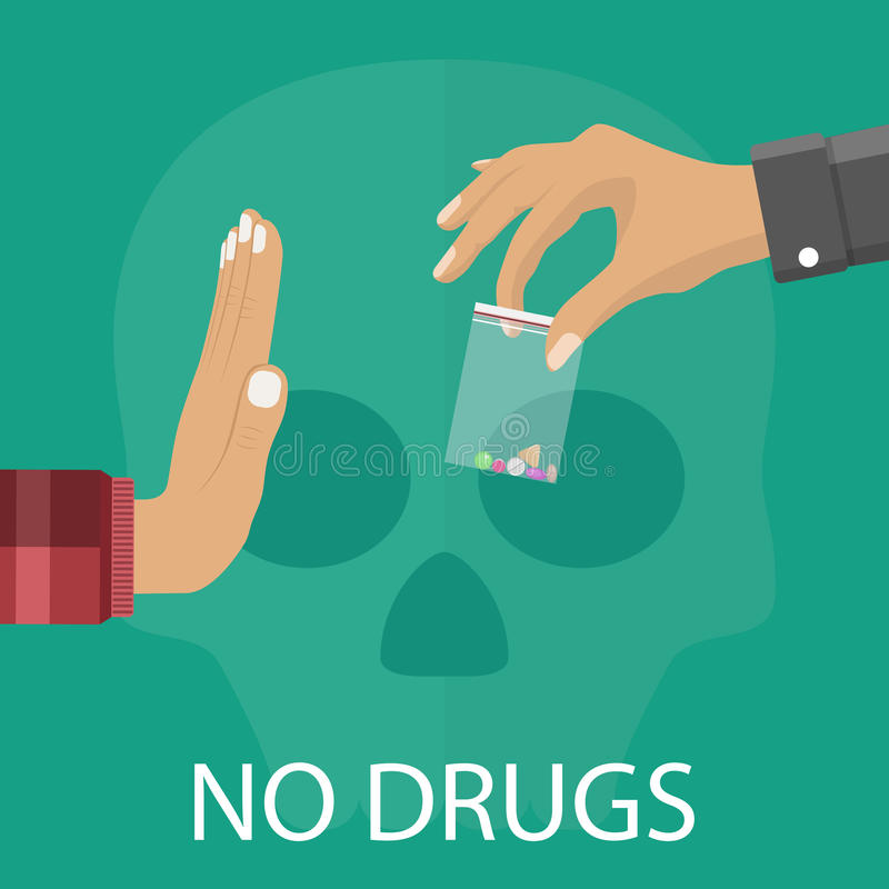 Nenhum conceito das drogas ilustração royalty free