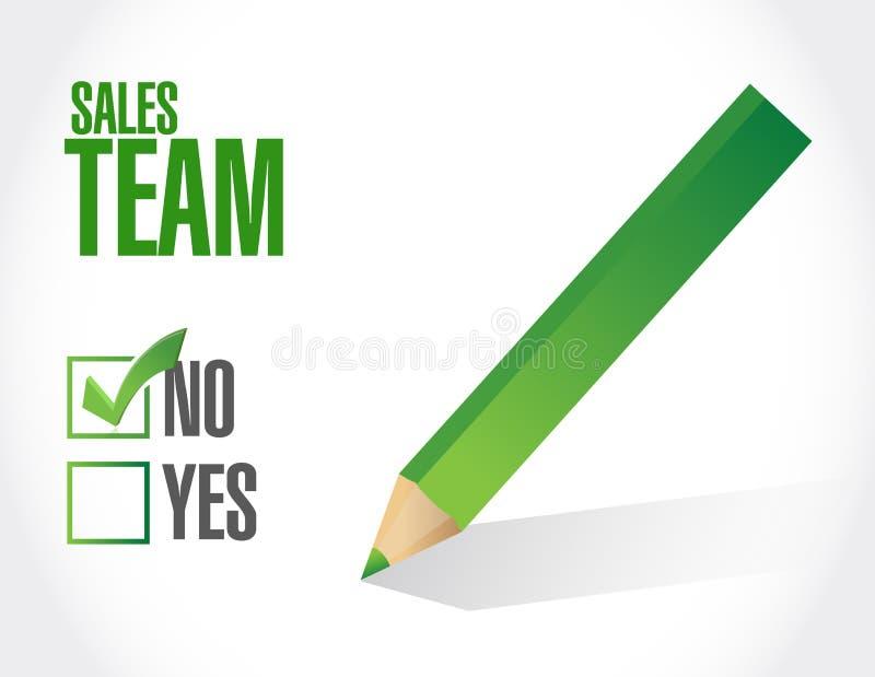 nenhum conceito do sinal da aprovação da equipe das vendas ilustração royalty free