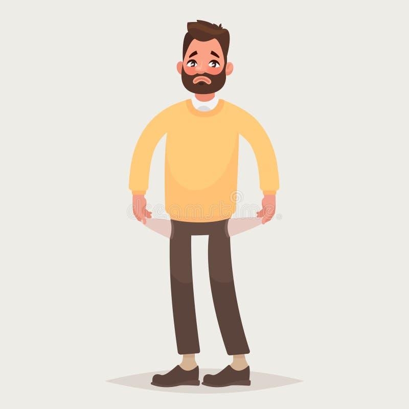 Nenhum dinheiro Homem com os bolsos girados externos Ilustração do vetor ilustração stock