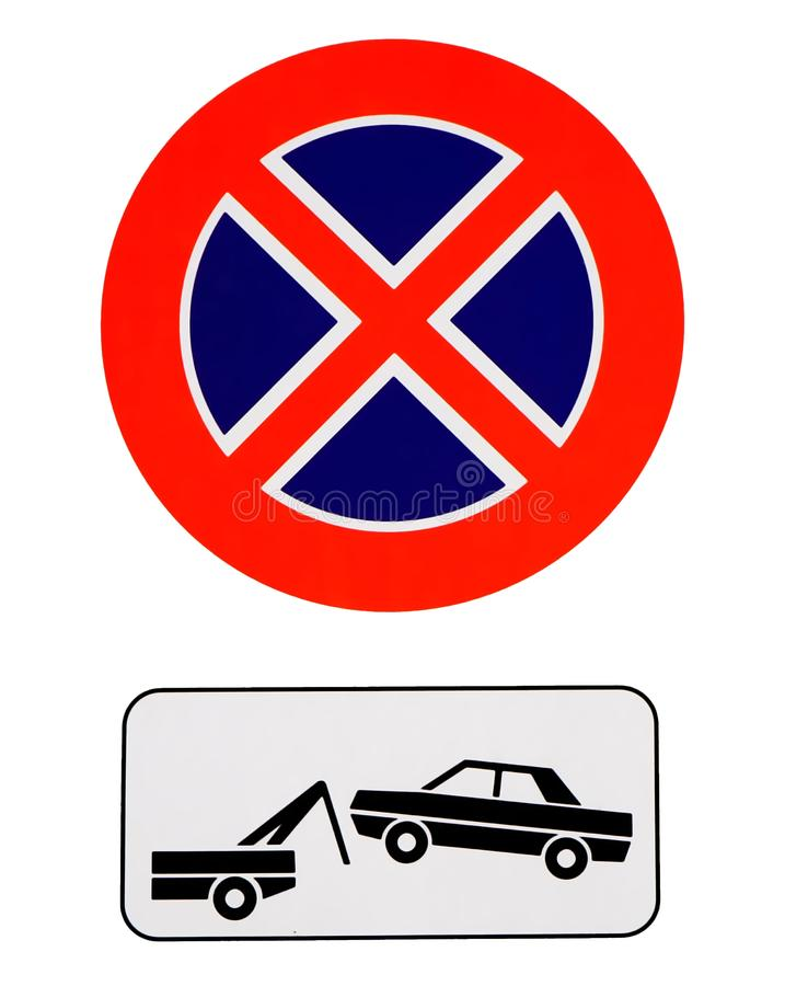 Nenhum estacionamento e nenhum sinal de parada Os veículos desautorizados serão removidos ilustração royalty free