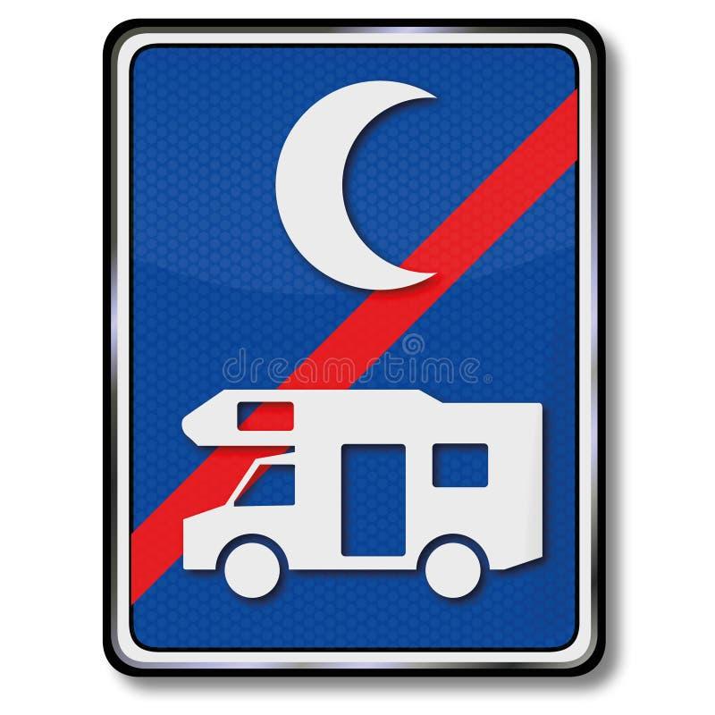 Nenhum estacionamento para campistas na noite ilustração royalty free
