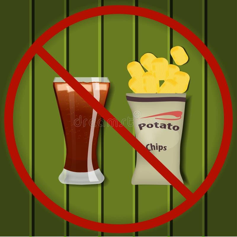 Nenhum fast food ilustração stock