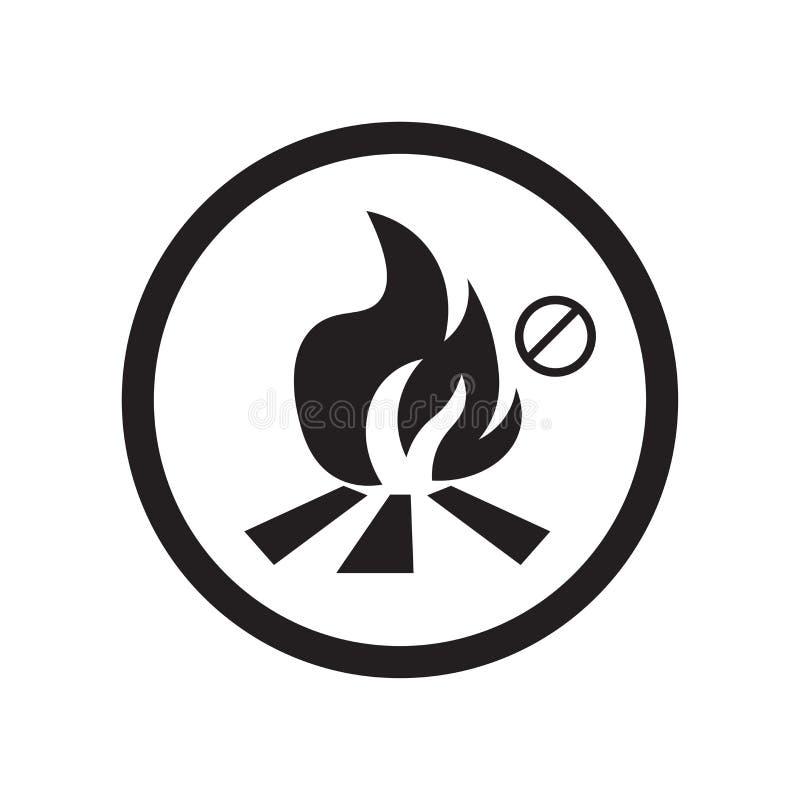 Nenhum fogo permitiu o sinal e o símbolo do vetor do ícone isolado no fundo branco, nenhum conceito permitido fogo do logotipo ilustração do vetor