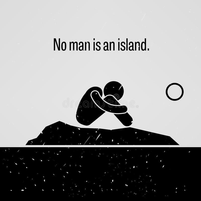 Nenhum homem é um provérbio da ilha ilustração do vetor