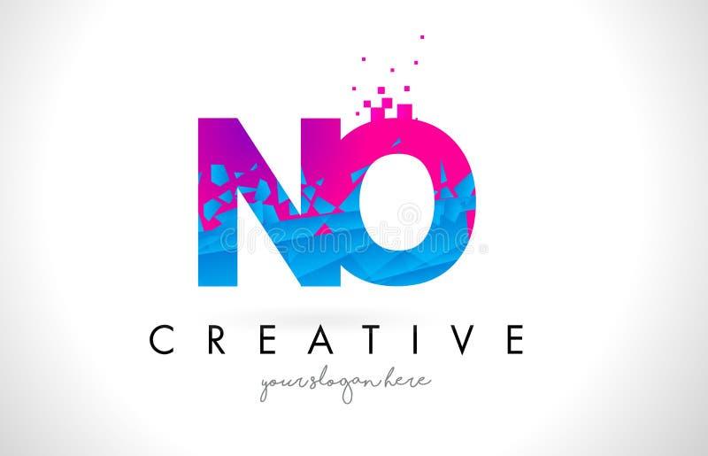 NENHUM logotipo da letra de N O com textura cor-de-rosa azul quebrada quebrada Desig ilustração do vetor
