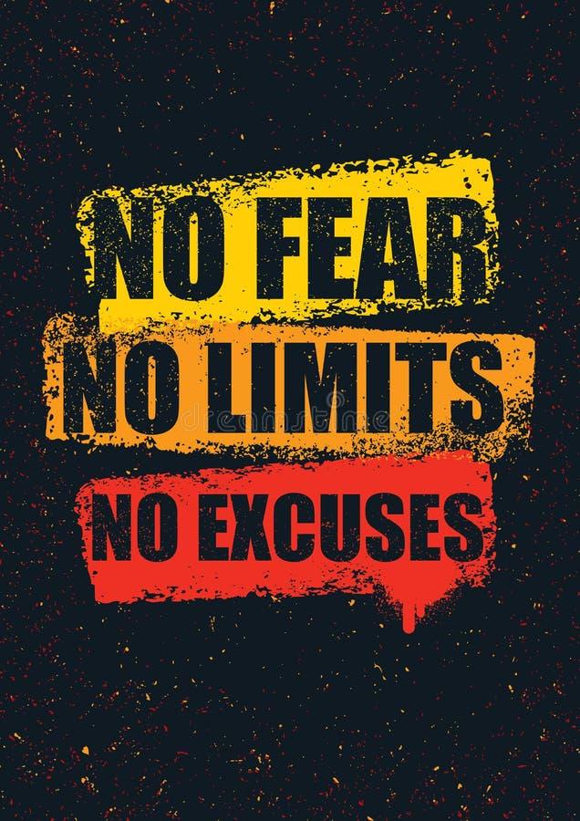 Nenhum medo Nenhuns limites Nenhumas desculpas Molde inspirador criativo das citações da motivação Conceito de projeto da bandeir
