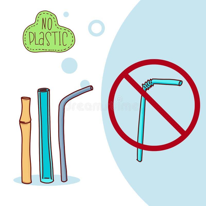 nenhum plástico Desperdício zero estilo de vida do eco Ilustração do vetor ilustração royalty free